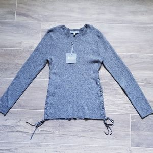 NWT Marled   Grey Ribbed Sweater with Tie Up Sides